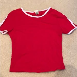 Red Cropped Top with two stripes on side